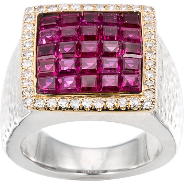 18k Yellow Gold and Sterling Silver 2/5ct TDW Diamond and Clustered Ruby Square Ring (H-I, SI1-SI2) 17152794