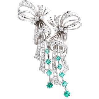 18k White Gold 3ct TDW Diamonds and Emerald 'Up the Ear' Deco Earrings (G-H, VS1-VS2)