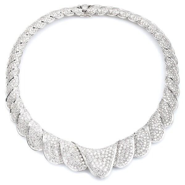 18k White Gold 40ct TDW Estate Bib Diamond Necklace (G-H, VS1-VS2)
