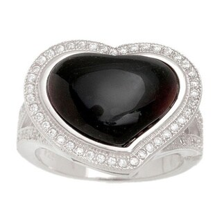 Pori Sterling Silver Black Onyx Pave Heart Ring