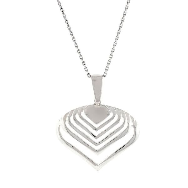 Pori Sterling Silver Wave Heart Pendant Necklace