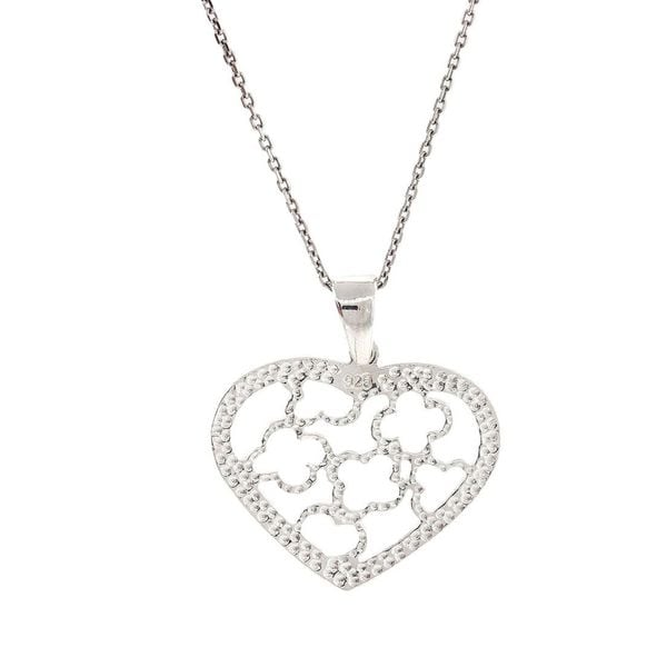 Pori Sterling Silver Heart of Flowers Pendant Necklace