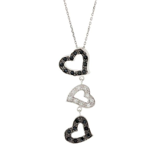 Pori Sterling Silver Triple Heart Black and White Cubic Zirconia Pendant Necklace