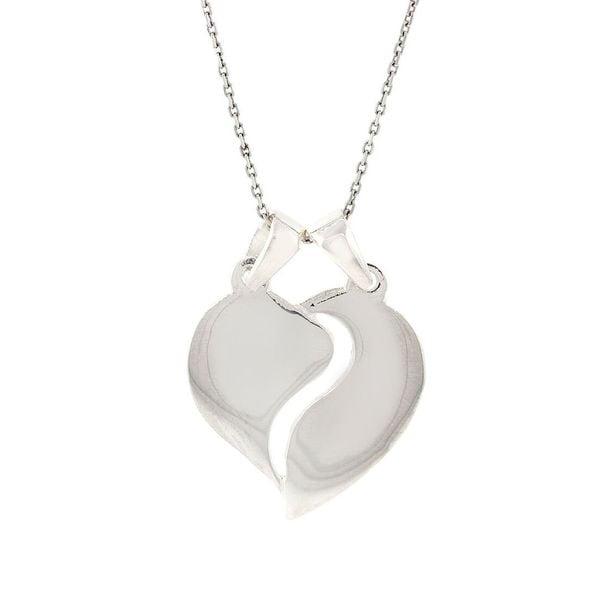 Pori Sterling Silver Split Heart Pendant Necklace