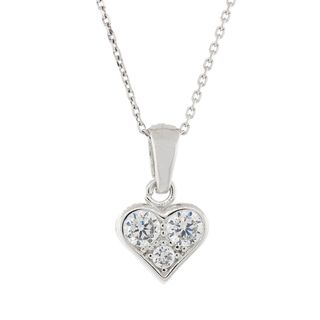 Pori Sterling Silver 3-stone Heart Pendant Necklace