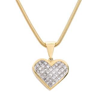 14k Yellow Gold 3ct TDW Invisible-set Diamond Heart Estate Necklace (G-H, VS1-VS2)