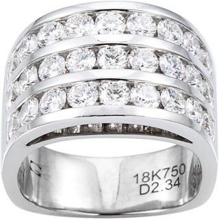 18k White Gold 2 1/3ct TDW Diamond Wide Band 3 Row Estate Ring Size 6.5 (G-H, VS1-VS2)