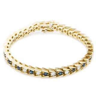 14k Yellow Gold 1 1/2ct TDW Diamond and Sapphire Herringbone Tennis Bracelet (G-H, SI3)