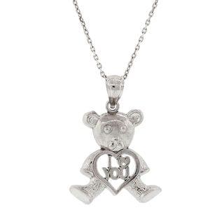 Pori Sterling Silver 'I Heart You' Heart Bear Pendant Necklace.