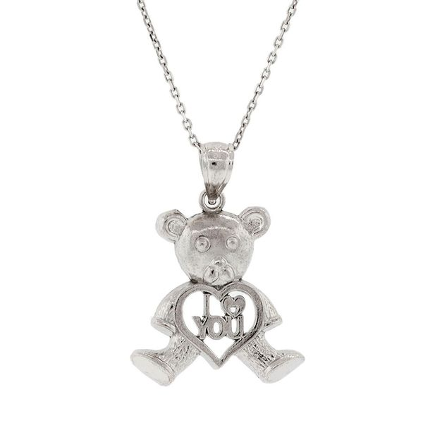 Pori Sterling Silver 'I Heart You' Heart Bear Pendant Necklace.
