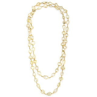 18k Yellow Gold 41ct TDW Multi-shapes Diamond by the Yard Necklace (Fancy Yellow, I1-I2)