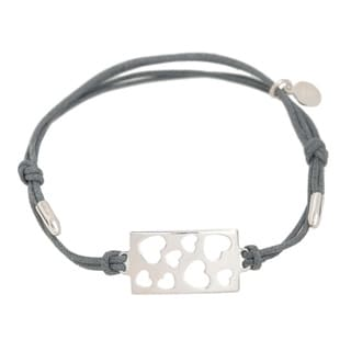 Pori Sterling Silver Rectangle Charm Hearts Leather Adjustable Bracelet