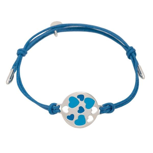 Pori Sterling Silver Circle Charm Enamel Hearts Leather Adjustable Bracelet 17152907