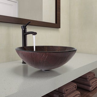 VIGO Kenyan Twilight Glass Vessel Bathroom Sink and Milo Faucet Set in Antique Rubbed Bronze Finish