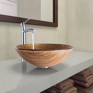 VIGO Amber Sunset Glass Vessel Bathroom Sink and Milo Faucet Set in Chrome Finish
