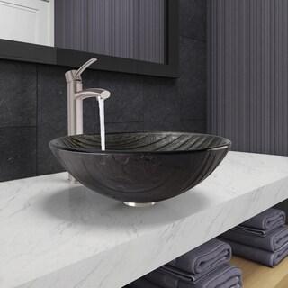 VIGO Interspace Glass Vessel Bathroom Sink and Milo Faucet Set in Brushed Nickel Finish