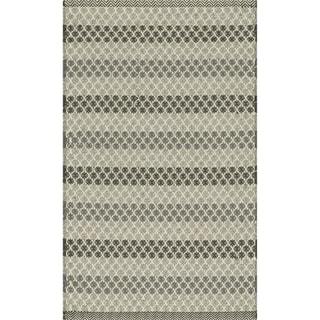 Indoor/ Outdoor Earth Tone Flatweave Steel Stripe Rug (2'3 x 3'9)