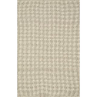 Indoor/ Outdoor Earth Tone Flatweave Oatmeal Rug (5'0 x 7'6)