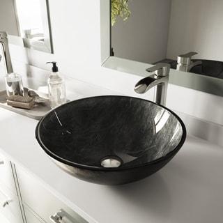 VIGO Gray Onyx Glass Vessel Bathroom Sink and Niko Faucet Set in Brushed Nickel Finish