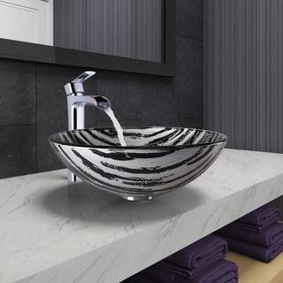VIGO Rising Moon Glass Vessel Bathroom Sink and Niko Faucet Set in Chrome Finish