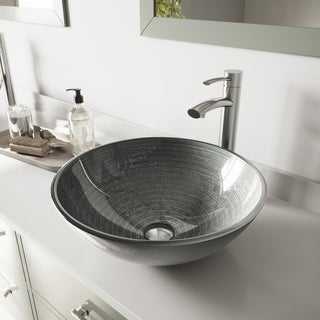 VIGO Simply Silver Glass Vessel Bathroom Sink and Milo Faucet Set in Brushed Nickel Finish