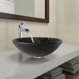 VIGO Enchanted Earth Glass Vessel Bathroom Sink and Niko Faucet Set in Chrome Finish