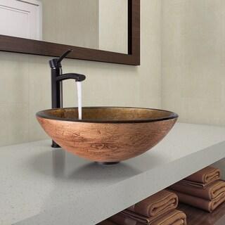 VIGO Cappuccino Swirl Glass Vessel Bathroom Sink and Milo Faucet Set in Antique Rubbed Bronze Finish