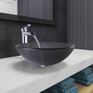 VIGO Sheer Black Frost Glass Vessel Bathroom Sink and Niko Faucet Set in Chrome Finish