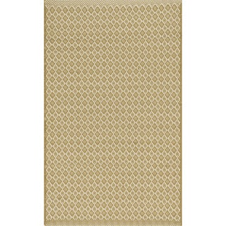 Indoor/ Outdoor Earth Tone Flatweave Goldenrod Rug (2'3 x 3'9)