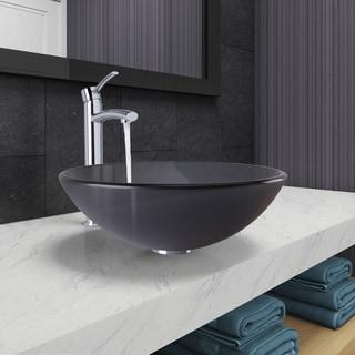 VIGO Sheer Black Frost Glass Vessel Bathroom Sink and Milo Faucet Set in Chrome Finish