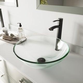 VIGO Crystalline Glass Vessel Bathroom Sink and Milo Faucet Set in Antique Rubbed Bronze Finish
