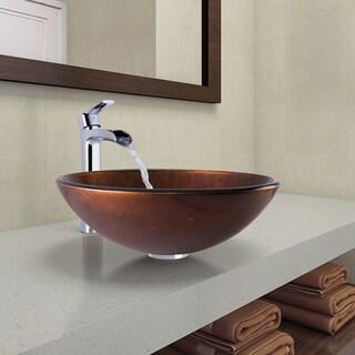 VIGO Russet Glass Vessel Bathroom Sink and Niko Faucet Set in Chrome Finish