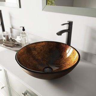 VIGO Russet Glass Vessel Bathroom Sink and Milo Faucet Set in Antique Rubbed Bronze Finish