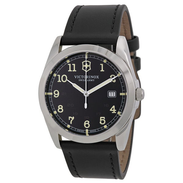 Victorinox Swiss Army 241584 Infantry Black Dial Black Leather Men's Watch