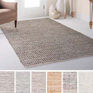 Hand-Woven Canoas Cotton/Leather Rug (2' x 3')
