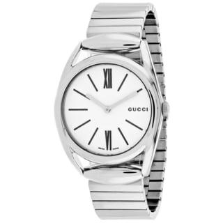 Gucci Women's YA140405 Horsebit Round Silver-tone Stainless Steel Bracelet Watch