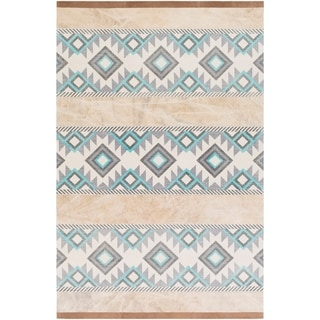 Papilio : Hand-Crafted Brook Cotton/ Leather Rug (2' x 3')