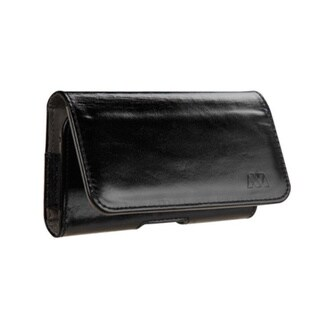 INSTEN Black/ Grey Genuine Leather Horizontal Magnetic Flip Cell Phone Pouch for Apple/ HTC/ LG/ Motorola/ Samsung/ Sony