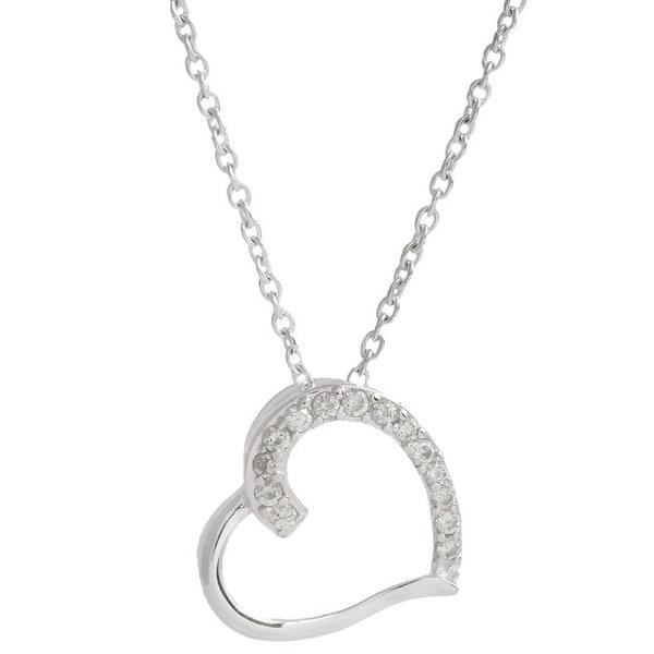 Pori Sterling Silver Cubic Zirconia Embellished Sideways Heart Necklace