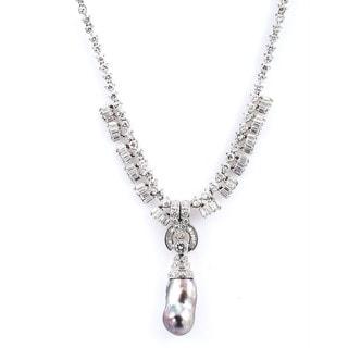 18k White Gold 12ct TDW Diamond and Tahitian Pearl Estate Necklace (H-I, VS1-VS2)
