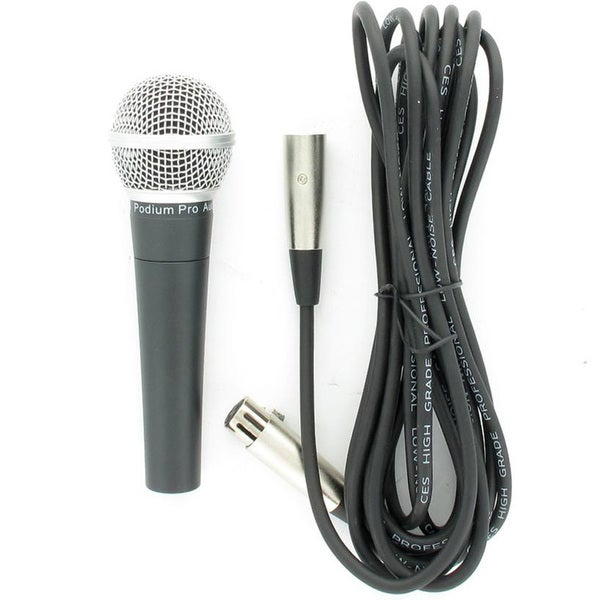 Podium Pro Audio PP58 Dynamic Microphone with Cable PA DJ Karaoke Pro Mic