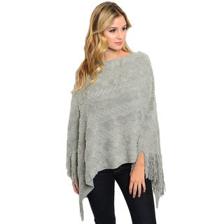Shop the Trends Women's Super Soft Textured Knit Poncho with Fringe Trim and Full Arm Coverage