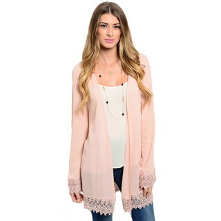 Shop the Trends Women's Long Sleeve Woven Kimono Cardigan with Open Front Design and Scalloped Crochet Lace Trim