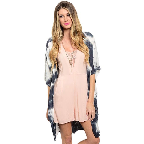 Shop the Trends Women's Short Sleeve Kimono Cardigan with Open Front Design Allover Tie-Dye Print