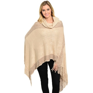 Shop the Trends Women's Two-Tone Fringe Knit Poncho with Loose Cowl Turtleneck and Easy Pullover Silhouette