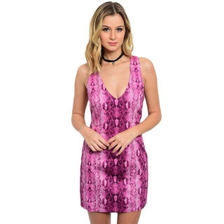 Shop the Trends Women's Sleeveless V-Neck Body-Hugging Dress with Vertical Animal Print