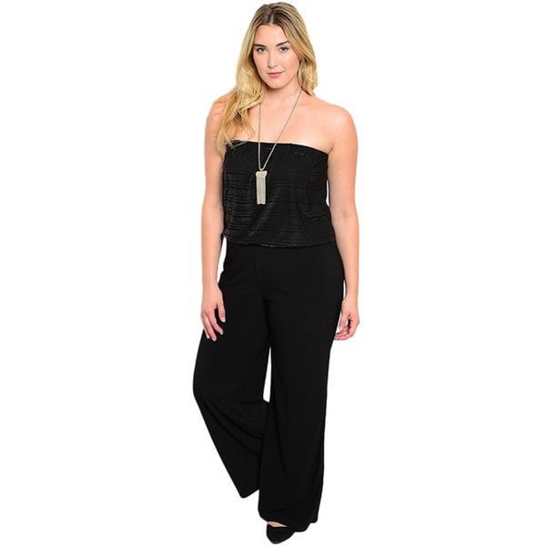 Shop the Trends Women's Plus Size Strapless Jumpsuit with Blouson Bodice and Wide Legged Trouser Fit
