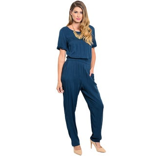 Shop the Trends Women's Short Sleeve Jumpsuit with Round Neckline and Blouson Bodice