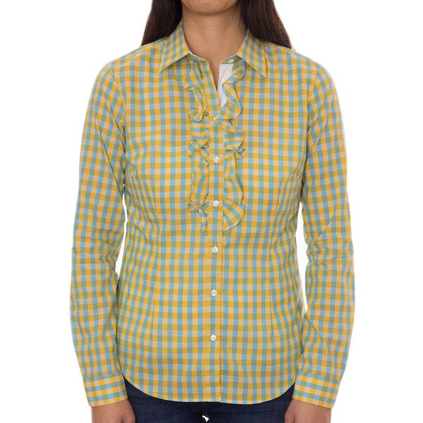 Robert Talbott Women's Cotton Blue/ Yellow Check Ruffled Front Blouse