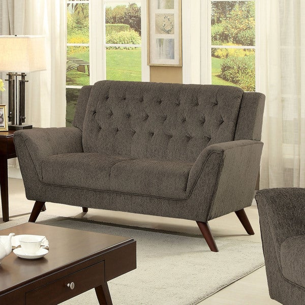 Furniture of America Regaldo Mid-Century Modern Grey Chenille Loveseat